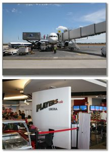 Photos of airplane at gate and cafe in the concession area at Daniel Oduber Quirós International Airport