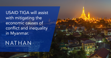 USAID TIGA will assist with mitigating the economic causes of conflict and inequality in Myanmar.